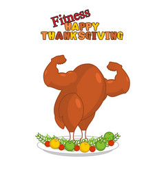 Fitness happy thanksgiving day vector