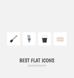 Flat icon dacha set of spade pail pump and other vector