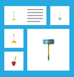 Flat icon mop set of equipment bucket besom and vector