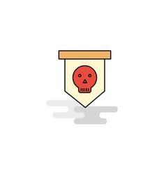flat skull flag icon vector image