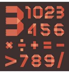 Font from reddish scotch tape - Arabic numerals vector