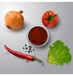 fresh green lettuce tomato and onion vector image