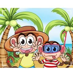 Funny monkeys at the beach vector