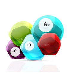 Glass color hexagons glossy plastic hexagon vector