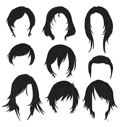 Hair styling for woman drawing Black Set 2 vector
