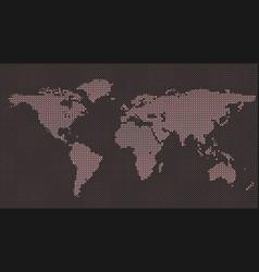halftone dot pattern world map background vector image
