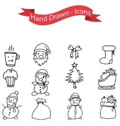 Hand drawn of Christmas icons set vector image