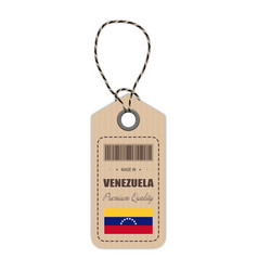 Hang tag made in venezuela with flag icon isolated vector