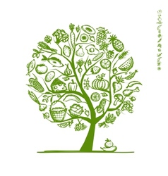 Healthy food tree sketch for your design vector image
