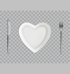 heart plate fork and knife empty table setting vector image