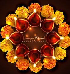 Hindu festival background of diwali vector