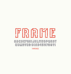Hollow sans serif font in sport style vector