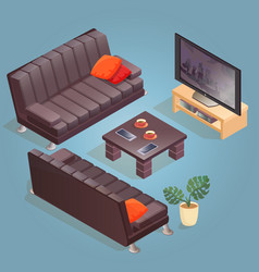 Isometric cartoon sofa tv icon isolated on blu vector