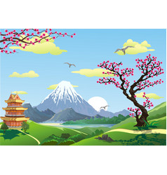 japanese pagoda at the foot of the mountain the vector image
