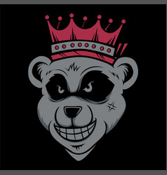 king bear wearing crownd head cat smoking hand vector image