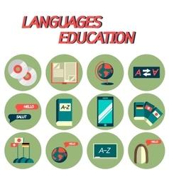 Languages education flat icon set vector