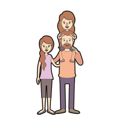Light color caricature thick contour family with vector