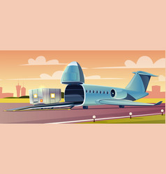 loading container on cargo airplane cartoon vector image