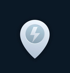 map pointer pin icon with electricity sign vector image