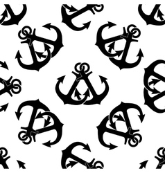 Marine crossed anchors seamless pattern vector image