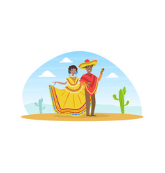 mexican couple wearing national traditional vector image