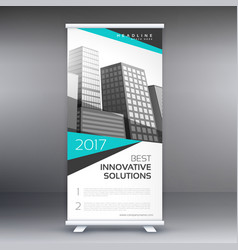 Modern business roll up standee banner concept vector