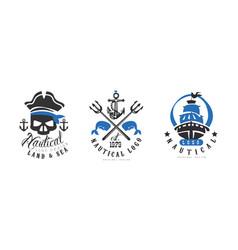 nautical logo design templates set land and sea vector image