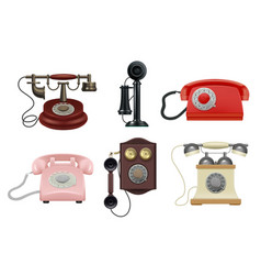 old phone realistic vintage telephones operator vector image