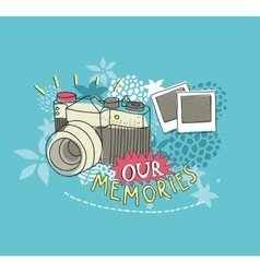 Old photo camera print vector image
