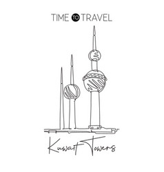 one continuous line drawing kuwait towers vector image