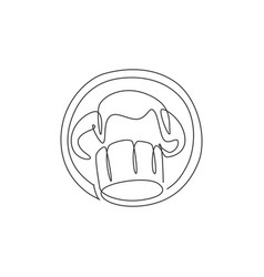 One single line drawing chef uniform cap or vector