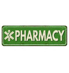 Pharmacy vintage rusty metal sign vector