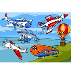 planes aircraft group cartoon vector image