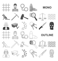 Prison and the criminal monochrom icons in set vector