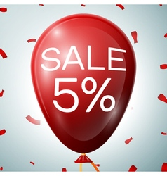 Red Baloon with 5 percent discounts SALE concept vector