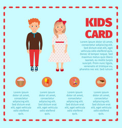 Red hair kids card infographic vector
