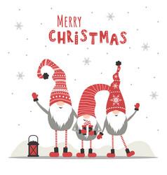 retro christmas card with gnomes season greeting vector image