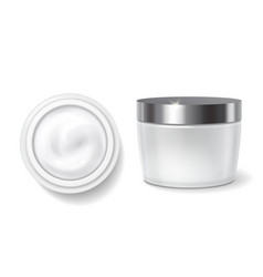 Round packaging of cream skin care jar vector