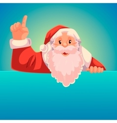 Santa claus pointing up on a blue background vector
