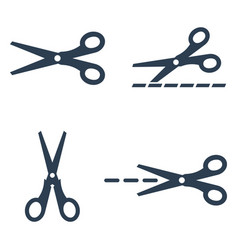scissors icons set on white background vector image
