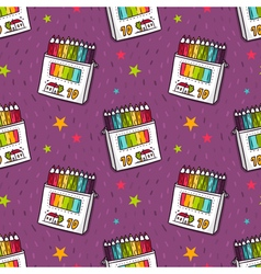 Seamless pattern with colored pencils vector