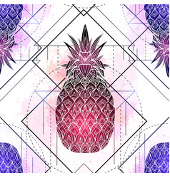 seamless pattern with mystical pineapples with vector image