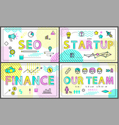 seo start up and finance set vector image