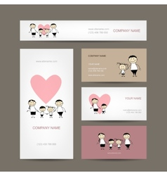 Set of business cards design with family vector image