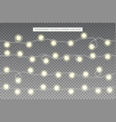 set of realistic glowing garlands vector image