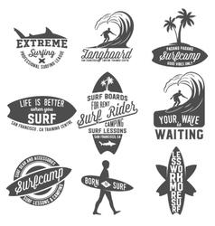 Set of vintage surfing labels badges and emblems vector