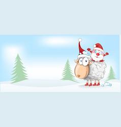 sheep christmas mascot with santa claus cartoon vector image