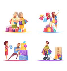 shopaholic cartoon design concept vector image