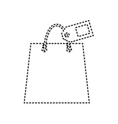 shopping bag sign with tag black dashed vector image