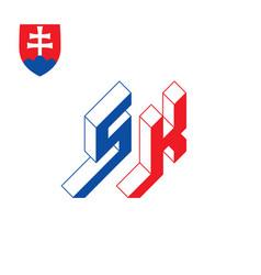 sk - international 2-letter code or national vector image